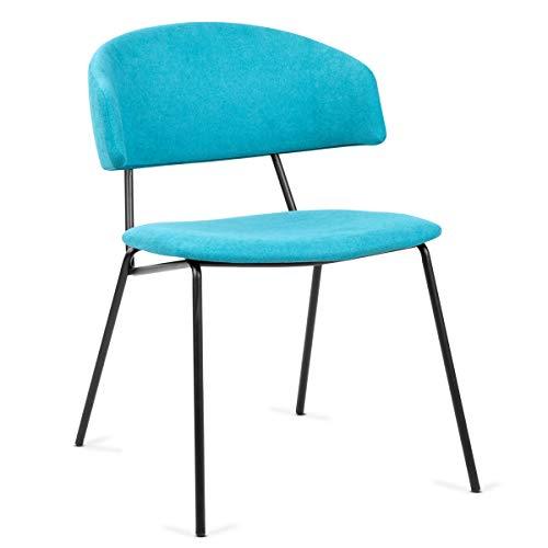Mc Haus SHIRA - Pack 2 sillas nórdicas comedor cocina tapizadas, salón oficina dormitorio, respaldo y asiento acolchados, 57x54x77,5cm, Color Turquesa
