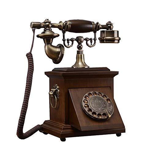 Ldlzjdh Festnetz Telefon-Telefon Alte Massivholz-Wählscheibe Antike Retro Dial Telefon Chinesische Festnetz Festnetz Drehscheibe Telefon Mit Klassischer Klingel Festnetz