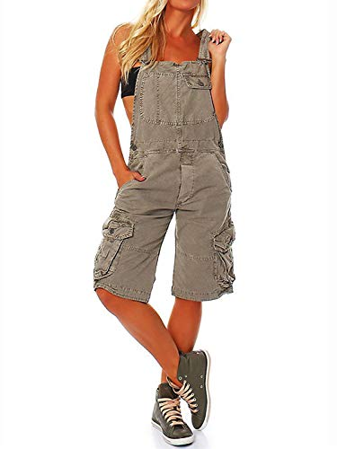 Women's Y-shaped Broadband Double Shoulder Working Overall Pants,Utility Vintage Casual Workwear Denim Rompers (GRAY, L)