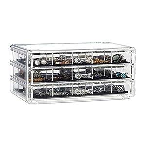 Cajas de Almacenamiento de pl/ástico Transparente 28 Rejillas x 2 divisores Ajustables para Joyas Wolintek aretes Caja de Almacenamiento de pl/ástico 28 Compartimentos x 2, Transparente