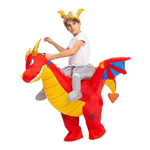 Spooktacular Creations Inflatable Costume Riding a Fire Dragon Air Blow-up Deluxe...