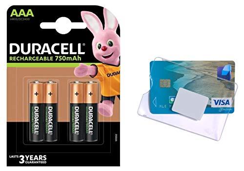 Duracell - Pilas recargables AAA LR03 HR03 NiMH de 750 mAh, batería recargable, compatible con cualquier cargador de pilas AAA y funda C.B.