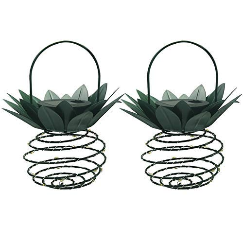 Solar Light Outdoor Waterproof Pineapple Solar Lights Path Lights Hanging Fairy Lights Solar Led Warm Fairy String Decor (Emitting Color , 2pcs, Size , Free),2pcs,Free Solar Lights for Garden