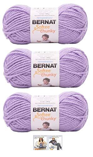 Bernat Softee Chunky Yarn Bundle Super Bulky Number 6 Gauge, 3 Skeins (Lilac)