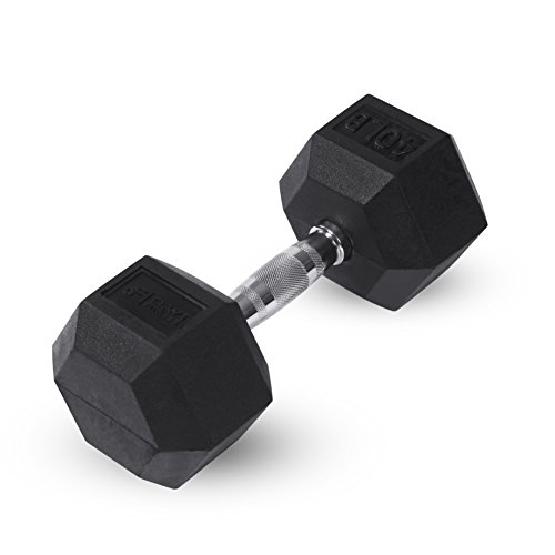 Day 1 Fitness Rubber Hex Dumbbell Shaped Heads to Prevent Rolling and Injury - Ergonomic Hand...