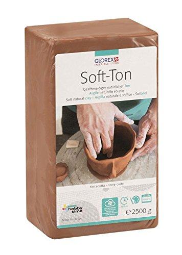 GLOREX 6 8075 337 - Soft Ton terracotta 2500 g, natürlicher, besonders weicher und geschmeidiger Ton, lufthärtend und für Brennofen geeignet, sehr gut für Kinder geeignet