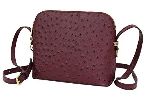 AMBRA Moda Damen Handtasche Umhängetasche Leder Tasche klein SL702 (Bordeaux)