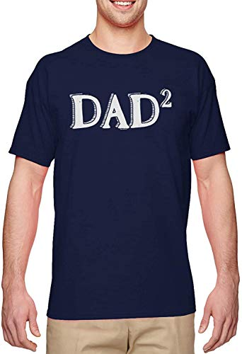 BLINGG Dad Squared Times Two Second Child Men's T-Shirt,Navy,Medium
