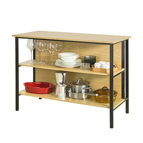 SoBuy Penisola Cucina con Piano Lavoro Mobile dispensa Cucina Stile Industriale L110*P50*A80cm, FSB28 (FSB28-N)