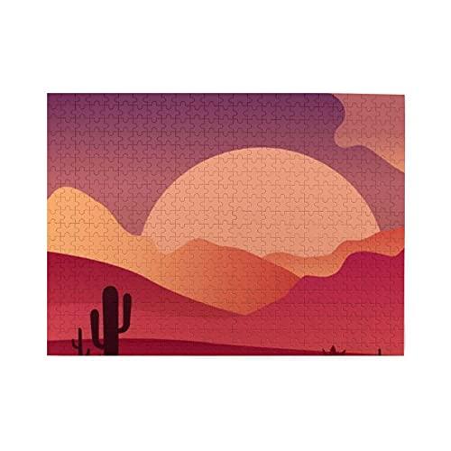 HASENCIV 500 Piezas Rompecabezas Rompecabezas Vista sobre Turismo Atardecer Aventura Tarde Occidental Amanecer Cielo Natural Desierto de Arena Sitio Natural Plano Familia Educativo Intelectual