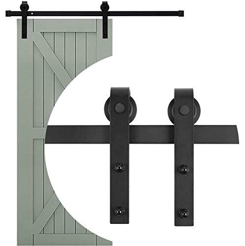 183cm/6FT Schiebetürbeschlag Set Laufschienen Schiebetürbeschlag, Hängeschiene Schiebetürsystem Tür Hardware Kit für Schiebetüren Innentüren und Wandschränke