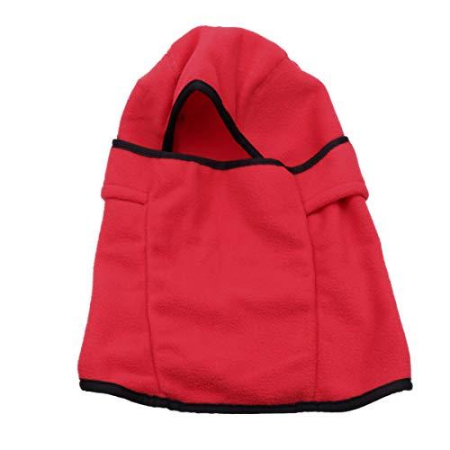LIOOBO Universelle abnehmbare Winter-Gesichtsmaske aus Fleece Winddichte Kopfbedeckung Warme Kopfbedeckung für Skifahren im Freien Reiten - freie Größe (rot)