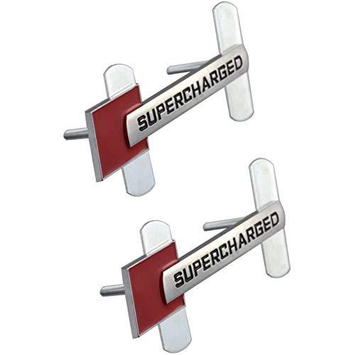 2 Piezas de emblemas sobrealimentados Insignia 3D Placa de identificación de Fibra de Metal Pegatinas de Coche de Repuesto para Audi TT A1 A3 A4 A5 A6 A7 A8 Q3 Q5 Q7 S4 S6 S5 RS5 S6, Cromo/Rojo Insi