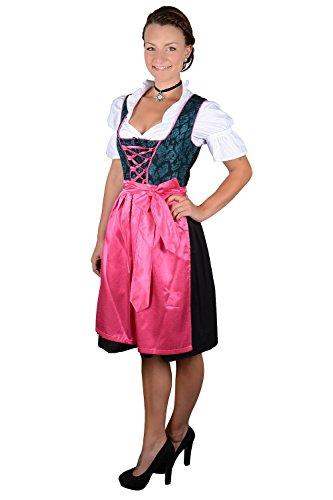 Almhouse 3-delige mini dirndl Lara roze petrol incl. schort en blouse maat 32-52
