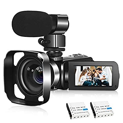 4K Camcorder Video Camera with Microphone Vlogging Camera 48MP Remote Control WiFi Digital Camera 3 Inch Touch Screen 16X Digital Zoom YouTube Camera IR Night Vision, 2 Batteries by Camera