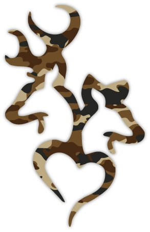 "Brown Buck and Doe Heart Deer Camouflage 4"" x 6"" sticker decal"