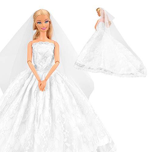 Miunana 1 Vestido de Novia con 1 Velo Vestir Ropa Boda Accesorios como Regalo para 11.5 Pulgadas 28 - 30 CM Muñeca - Blanco