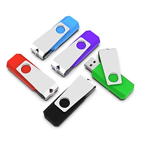 Vansuny 16GB Chiavette USB 2.0, 5 Pezzi PenDrive Rotazione a 360°, 16 GB USB Flash Drive, Thumb Drive Memoria Stick Pendrive per PC, Laptop, Autoradio, TV (Nero Verde Blu Arancia Rosso)