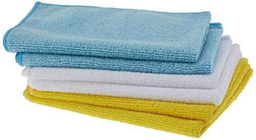 Amazon Basics - Bayeta de microfibra (6 unidades), color blanco, azul y amarillo