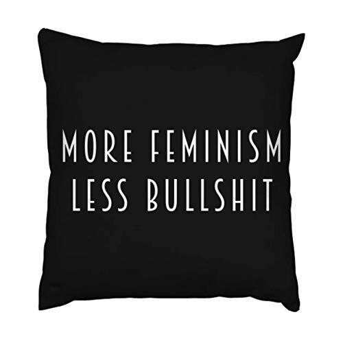 Asa Dutt528251 Fundas de Almohada, más Feminismo, Menos tonterías (Blanco), Fundas de Almohada de Viaje, Fundas de Almohada de Viaje Florales para el Descanso de los Viajes en avión, 45x45cm