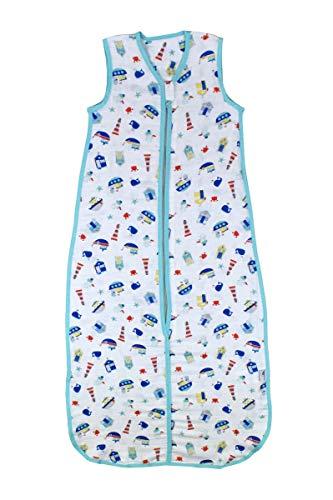 Schlummersack Bambus-Musselin Babyschlafsack für den Sommer 0.2 Tog - Boote - Jungen - 12-36 Monate/110 cm mitwachsend