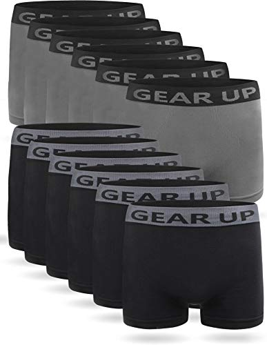 6 oder 12 Mikrofaser-Unterhosen für Herren - Boxershorts Retroshorts - Atmungsaktive Sportunterwäsche für Männer Farbe 6 x Schwarz / 6 x Grau Größe XXL/3XL