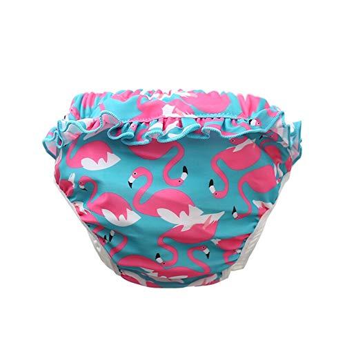 Neue Entzückende Wiederverwendbare Baby Schwimmhose Mädchen Schwimmwindel mit Rüschen für Kleinkinder, 0-4 Jahre (Roter Flamingo, XL-36-44lb/3-4 Jahre)