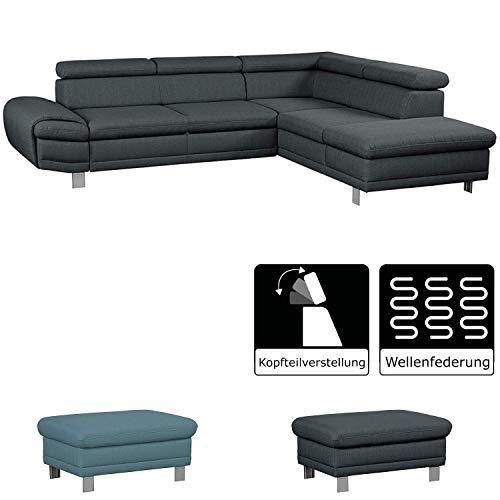Cavadore Ecksofa Marool / Großes Sofa mit Ottomanen rechts und Kopfteilverstellung / Modernes Design / Maße: 283 x 79 x 229 cm (BxHxT) / Farbe: Dunkelgrau