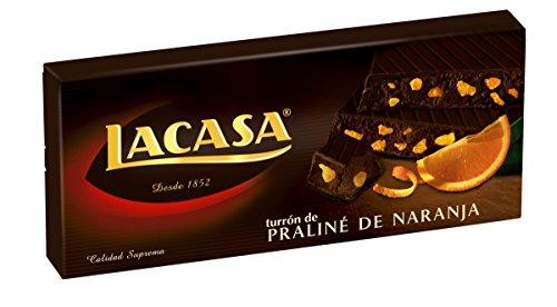 Lacasa Turrón de Praline Chocolate con Naranja, 225g