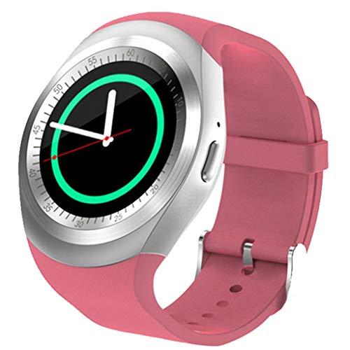 MARIJEE Reloj inteligente para mujeres y hombres, impermeable Fitness Bluetooth Smartwatch Full Touch pantalla redonda Smart Bracelet podómetro para iOS Android (rosa)