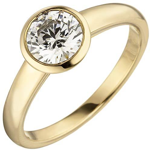 Jobo Damen Ring 585 Gold Gelbgold 1 Diamant Brillant 1,0 ct. Diamantring Solitär Größe 58