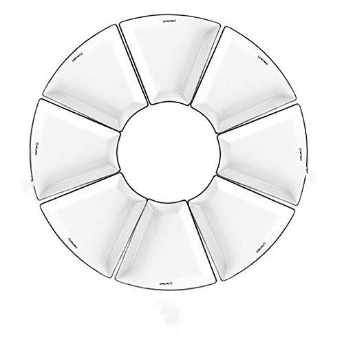 YSJSPOL Plato de Cena Combinación de Bricolaje Conjunto de Placa de cerámica Blanca Accesorios de Cocina de Fruta de Porcelana Ensalada de Alimentos Platos de Cubiertos para cenar (Color : 8 pcs)