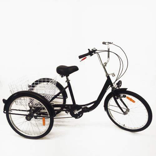 SHIOUCY tricicli Adulti velocità Bicicletta 3 Ruote Adulti con Cestino di acquisto con Faro della Bicicletta Bike, DHL (Nero)