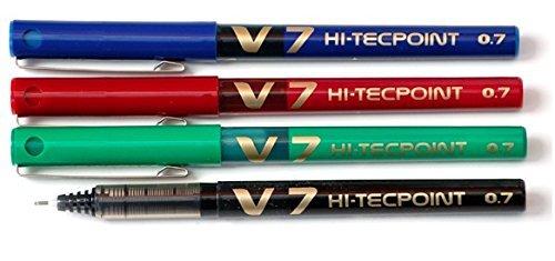 Pilot V7 HI-TECPOINT – Juego de bolígrafos roller (4 unidades: 1 negro, 1 azul, 1 rojo y 1 verde)