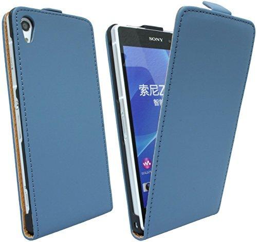 ENERGMiX Handytasche Flip Style kompatibel mit Sony Xperia Z2 D6503 in Blau Klapptasche Hülle