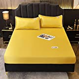 1 Pieza de Cama de Microfibra, sábana de Color Simple con Funda de Banda elástica, Funda de colchón tamaño Queen (sin Funda de Almohada) 150x200x25cm 3