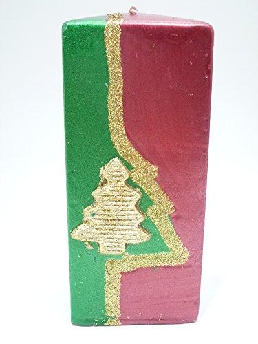 Bella-Vita GmbH 2 x weihnachtliche Christmas-Kerze rot-Gold-grün Geschenk (Höhe ca. 17 cm)