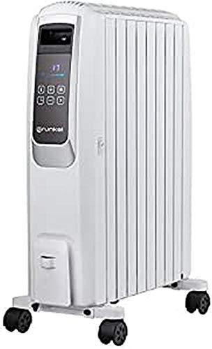 Grunkel - RAC-8 PIROS DIGITAL - Radiador de aceite de 8 elementos. Termostato inteligente, modo ECO, panel LED digital y mando a distancia - 2000W - Blanco