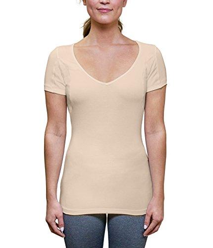 Camiseta a prueba de sudor para mujer con almohadillas para el sudor de las axilas (ajuste delgado, cuello en V profundo), S