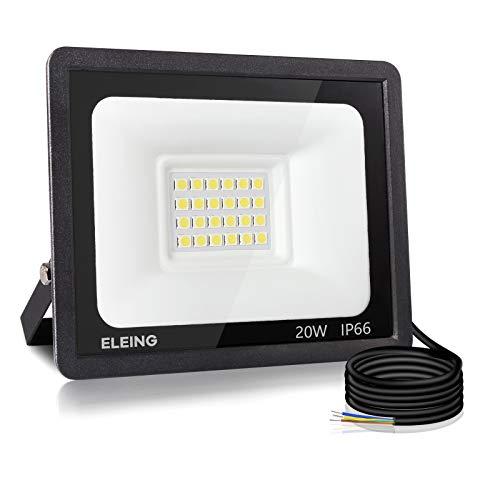 20W 1600LM ELEING Faro LED Esterno IP66 Impermeabile Faretto 3000K Luce Bianca Calda Fari Led da Esterno Alta Luminosa Faretti per Parcheggio, Magazzino