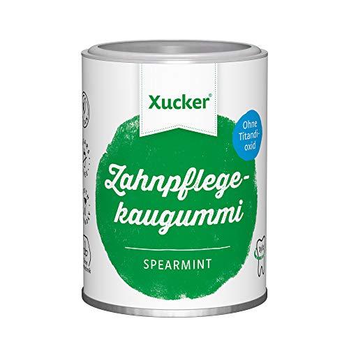 100 g Xucker Xylit-Kaugummis ohne TiO2, Spearmint | Zahnpflege mit Xucker | kann zur Zahnmineralisierung beitragen | ohne Zucker [ca. 67 Stk.]