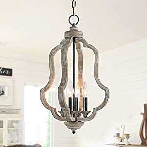 Wooden Farmhouse Chandelier ,4- Light Candle Style Antique Wood Pendant Light, Handcrafted Rustic Chandelier Hanging Light Fixtures for Dining Room, Living Room, Bedroom, Foyer,Kitchen Island