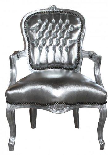 Casa Padrino Barock Salon Stuhl Silber/Silber