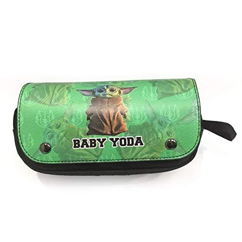 Baby Yoda - Estuche para lápices de Star Wars con doble cremallera de dibujos animados de poliuretano, caja de papelería para casa, escuela, oficina, viajes (F)