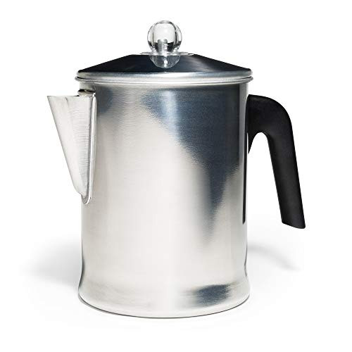 Primula TPA-3609 Today Aluminum Stove Top Percolator Maker Durable, Brew Coffee On Stovetop, Grill Or Campfire, 9 Cup