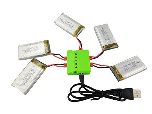 ZYGY 5PCS 3.7V 1200mAh Batteria al Litio e Caricabatterie 5-in-1 per Batteria ad altissima capacità Syma X5HW X5HC RC Quadcopter