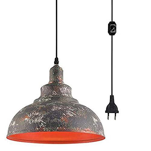 FSLIVING Plug-in – Lámpara colgante con enumerado CE. Lámpara de techo con cable de encendido y apagado, con pantalla de lámpara Vintage Industried Rust para salón, habitación de los niños