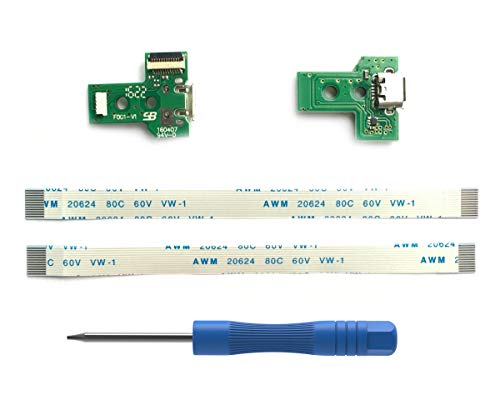 2PCs JDS-030 Replacement Prise de Port de Charge Micro USB pour Manette PS4, Chargeur de Ports de Chargement USB Socket Adaptateur Module, Flex Cable, Tournevis pour Playstation DualShock Contrôleur