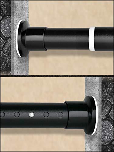 HoFactory Gardinenstange ohne Bohren 310-360cm Matt Schwarz Multifunktionale Vorhangstange Klemmbar - Ausziehbare Teleskopstange Klemmstange - für Trennwand, Vorhang und Balkon