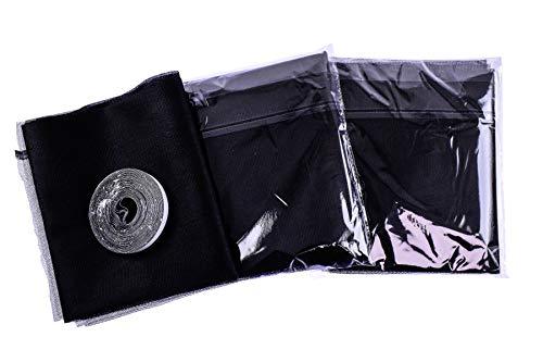 Red Tools Mosquitera con cinta autoadhesiva de velcro para ventanas, 3 piezas, malla fina, incluye cinta adhesiva de velcro, color negro, 130 cm x 150 cm